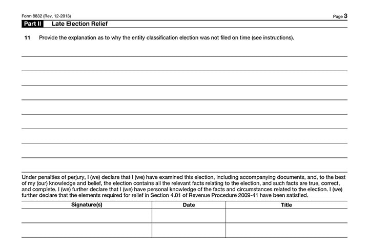 Form 8832 Late Election